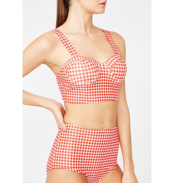 Lit Good Time Girl Gingham Bikini Set