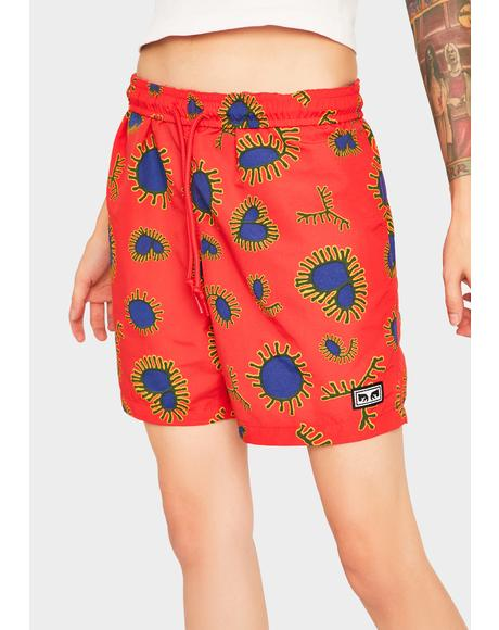Red Easy Relaxed Amoeba Shorts