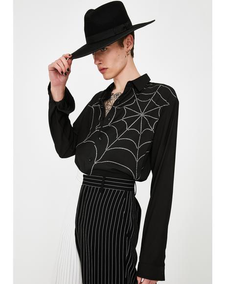 Diamante Spider Web Button Up Shirt