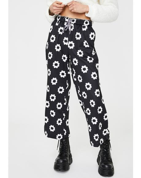 Black Flower Print Trousers