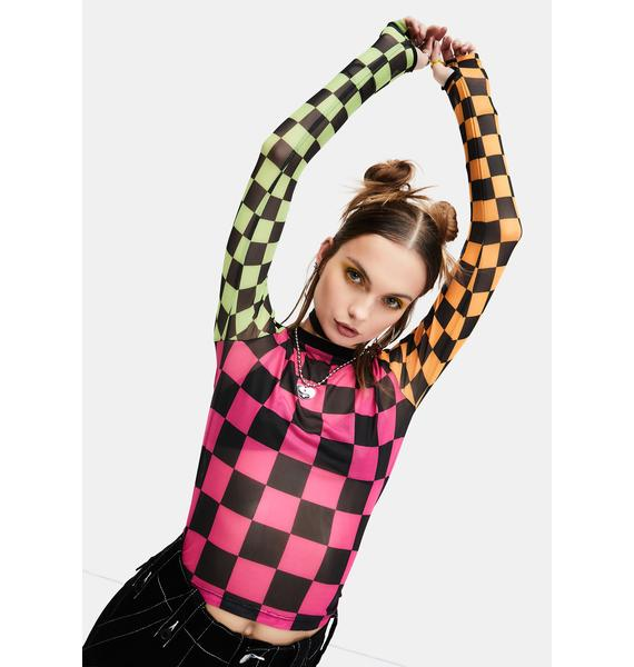 dELiA*s by Dolls Kill Reality In Motion Checkered Mesh Top