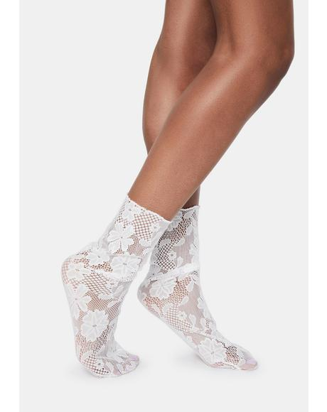 White Floral Lace Slouch Crew Socks