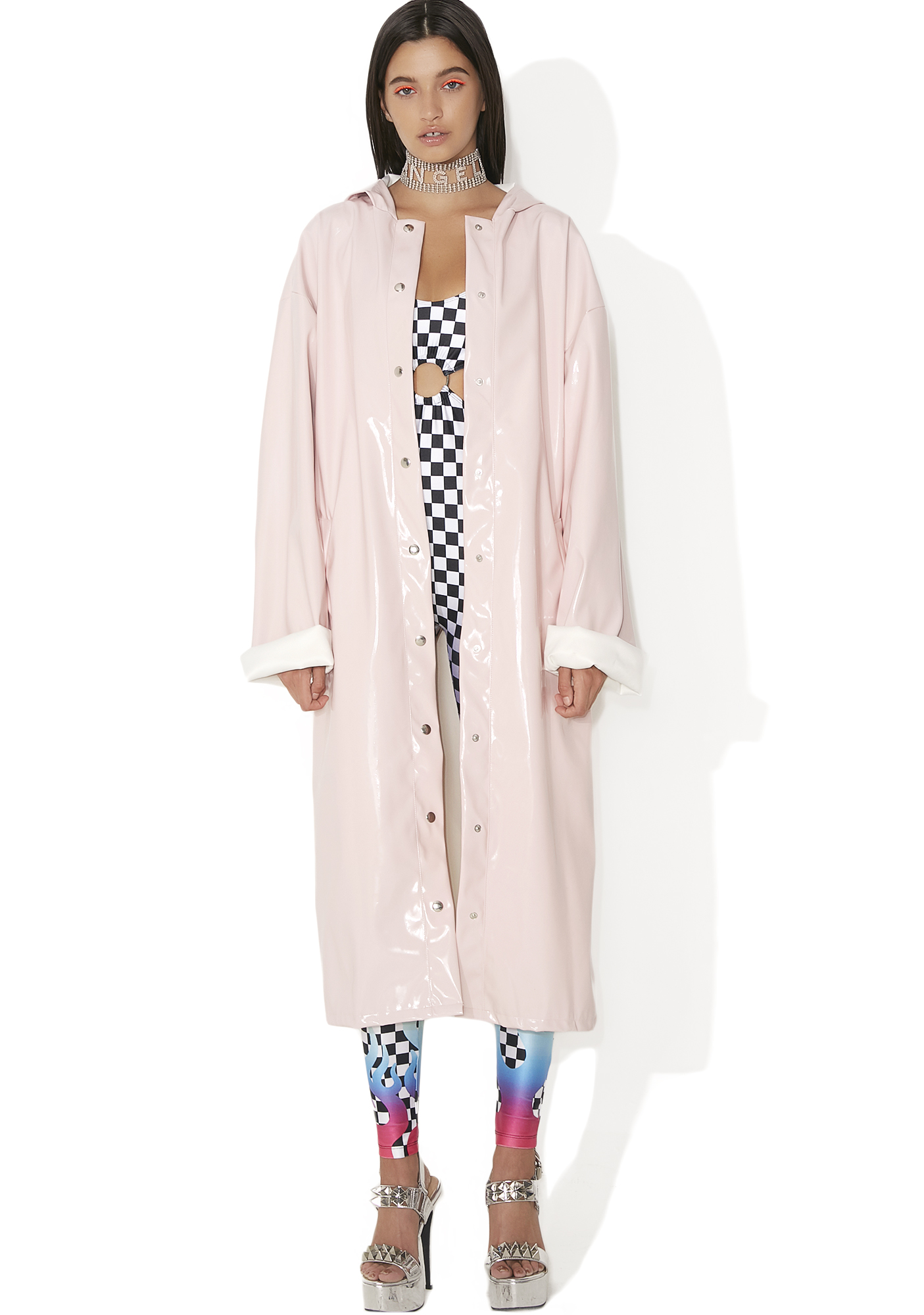 Jaded London Pink Patent Longline Jacket