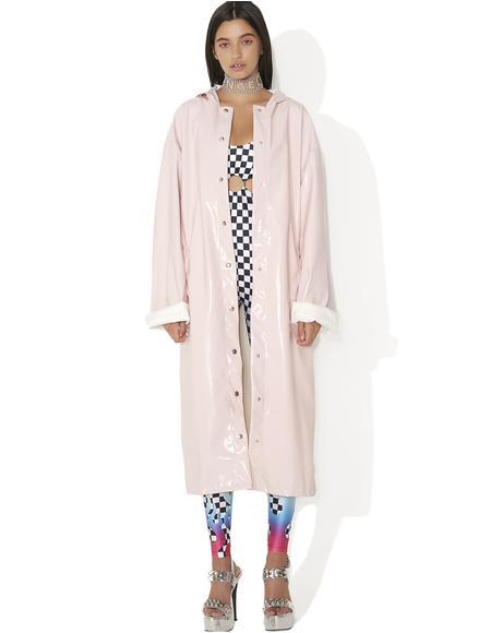 Pink Patent Longline Jacket
