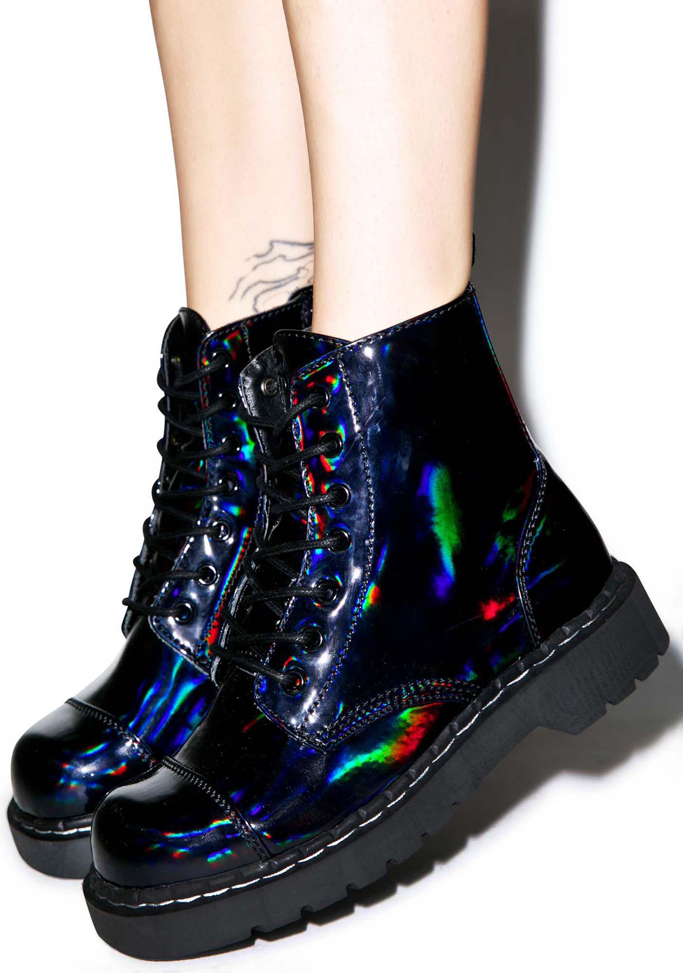 T.U.K. Dark Iridescent Anarchic 7 Eye Boots