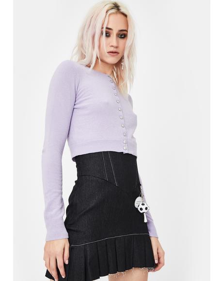 Lilac Cropped Knit Cardigan