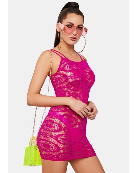 Fuchsia Fields Of Love Crochet Mini Dress