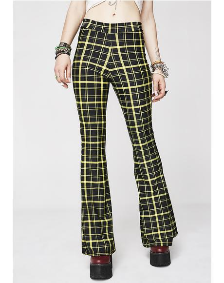 Hit Tha Books Plaid Flare Pants