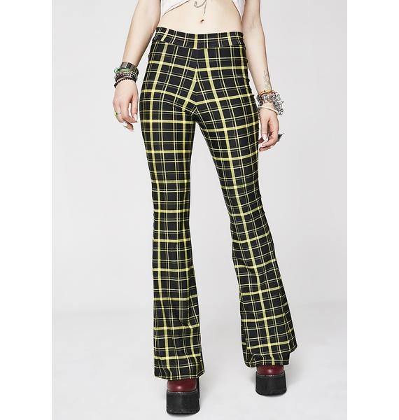Sugarpuss Hit Tha Books Plaid Flare Pants