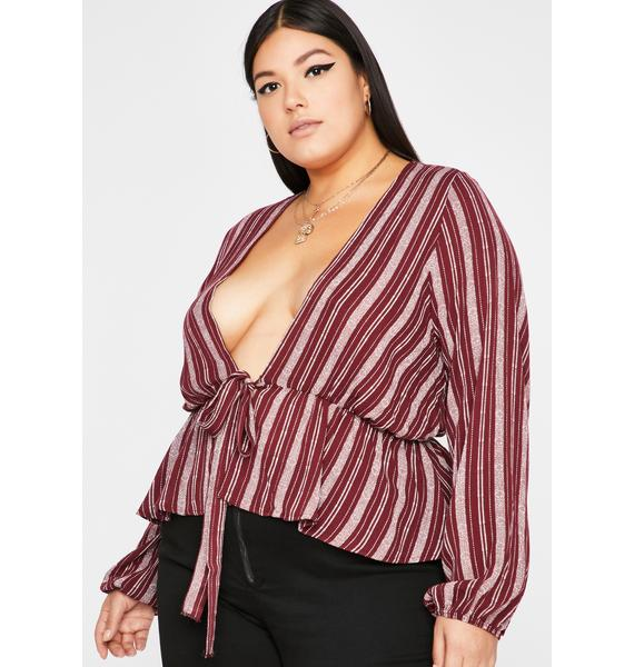 Wine Stay Extra Long Sleeve Top