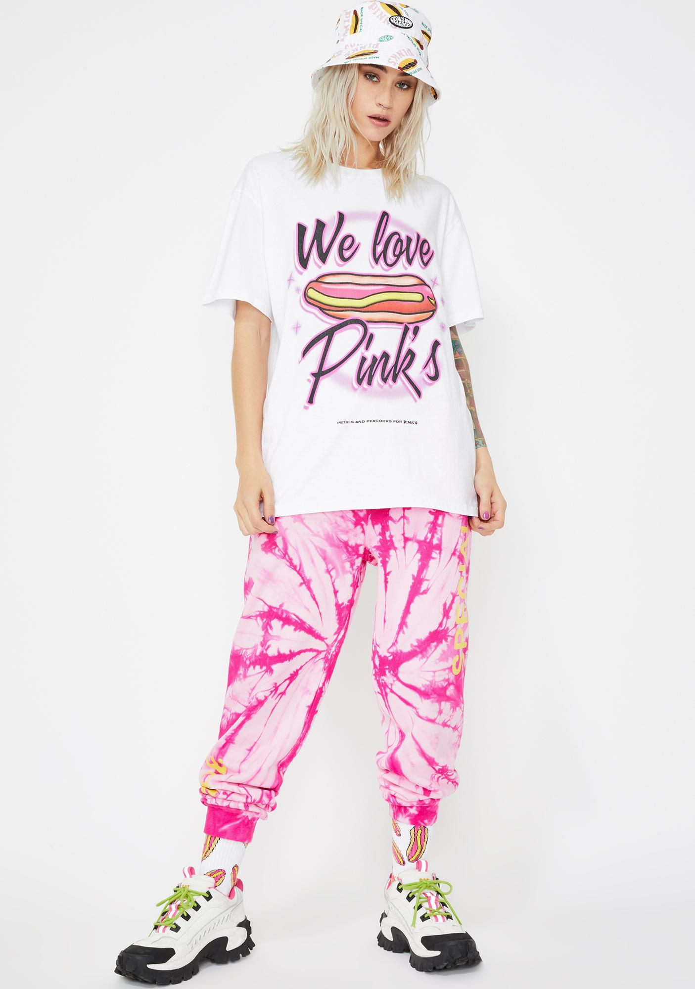 Petals and Peacocks X Pink's Hot Dogs We Love Pink's Airbrush Tee