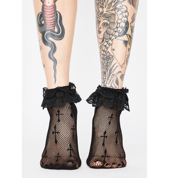 Worship Me Cross Fishnet Socks