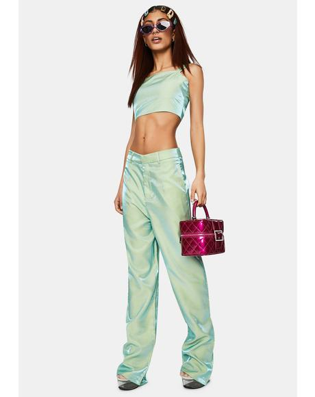 Iridescent Green Relaxed Straight Trousers