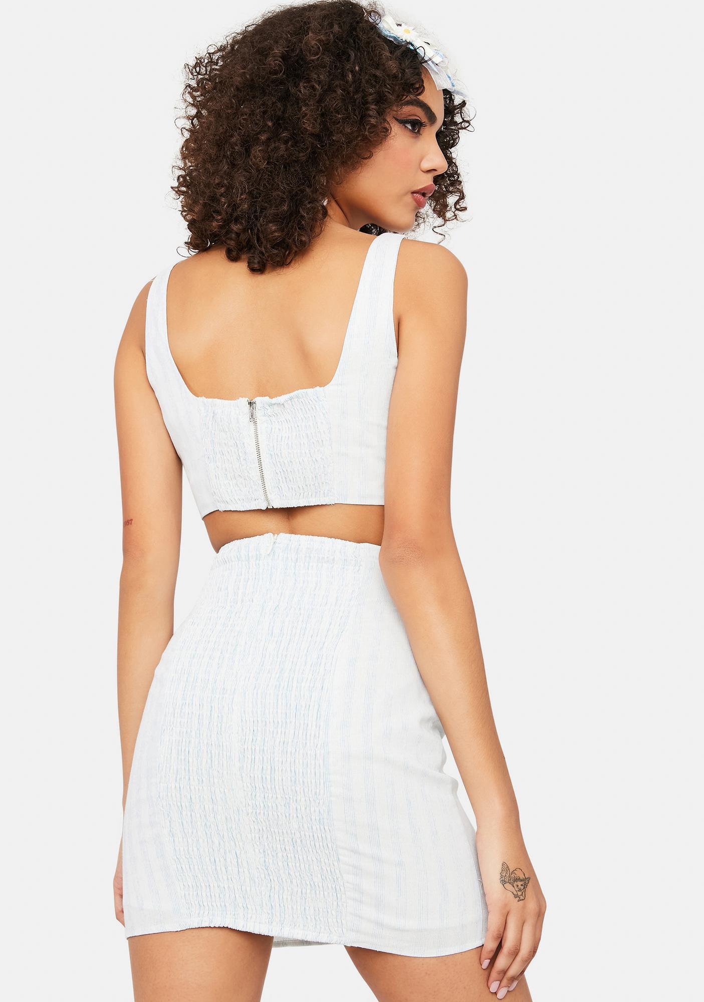 Can't You See Striped Denim Mini Skirt