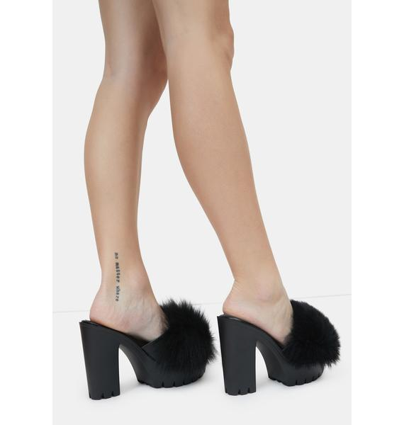Night Totally Buggin Feather Platform Heels