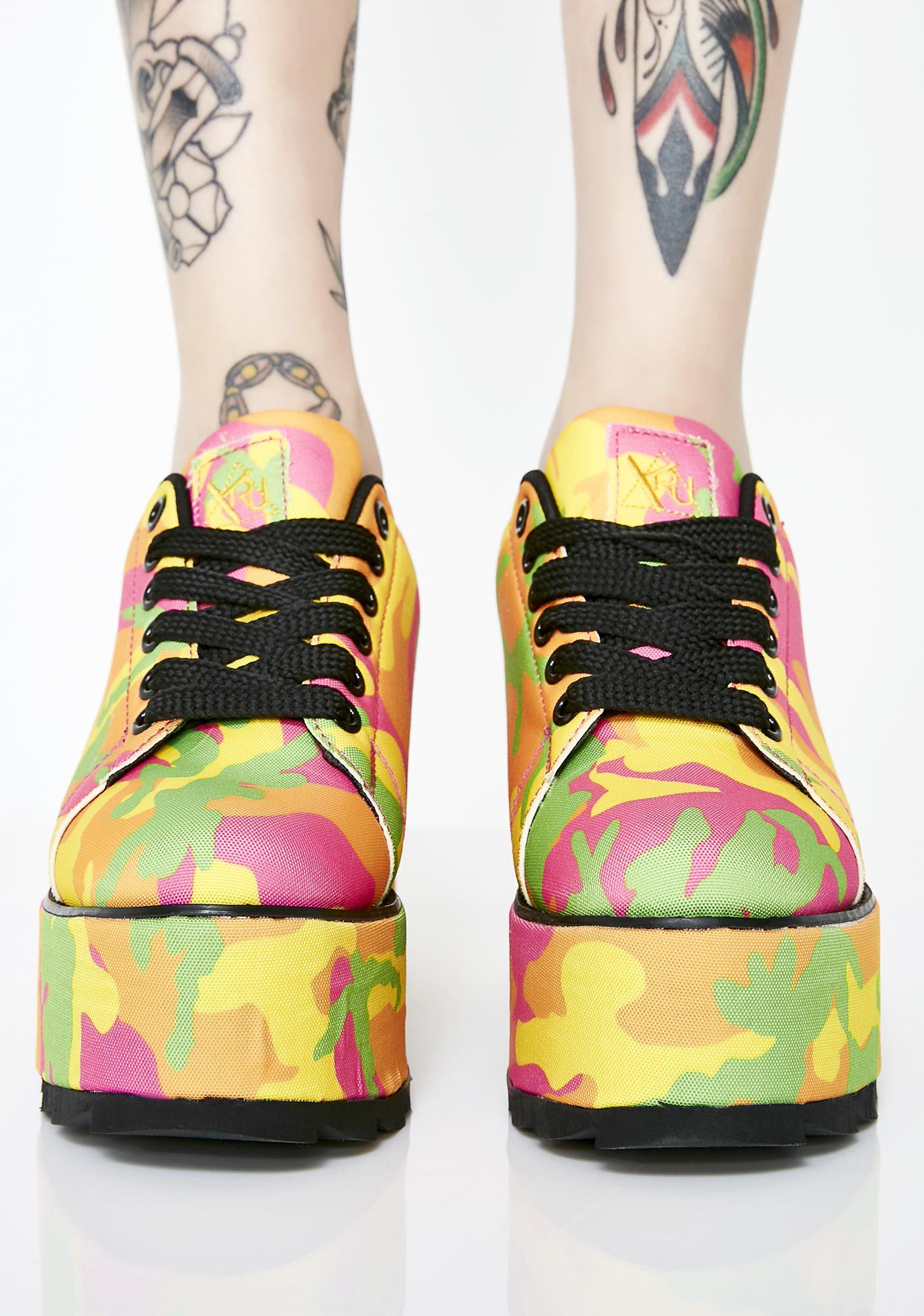 Y.R.U. Lala Neon Camo Platform Sneakers