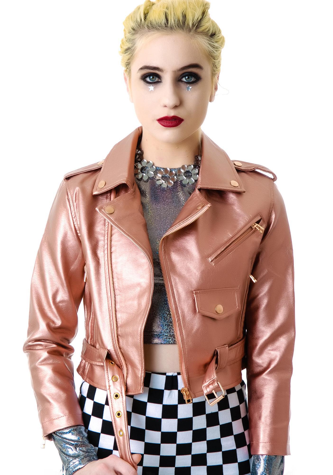 Lip Service Copper Vinyl Leather Moto Jacket