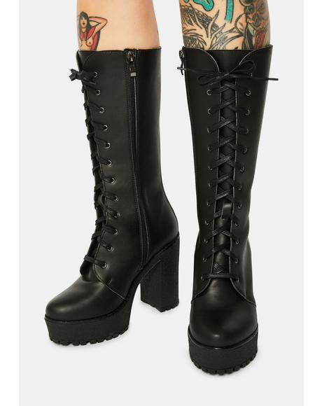 Alexa Lace Up Vegan Leather Boots