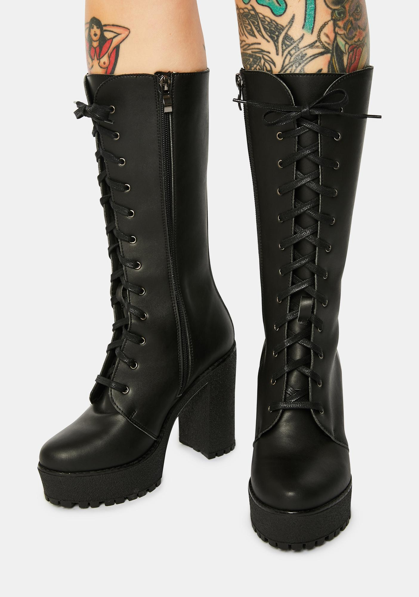 Altercore Alexa Lace Up Vegan Leather Boots