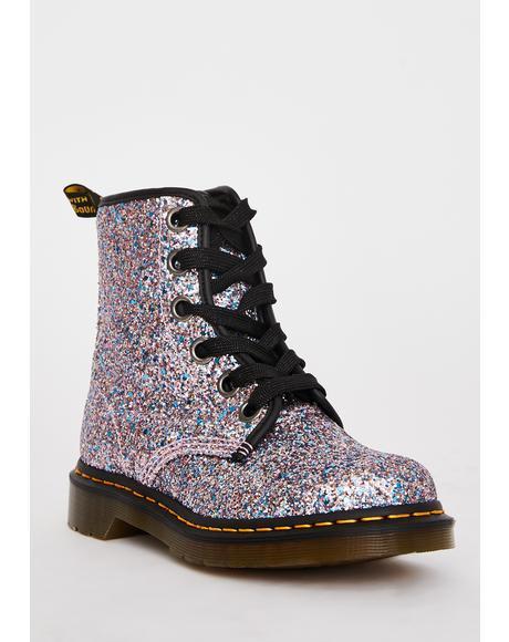 Blue 1460 Farrah Glitter Boots