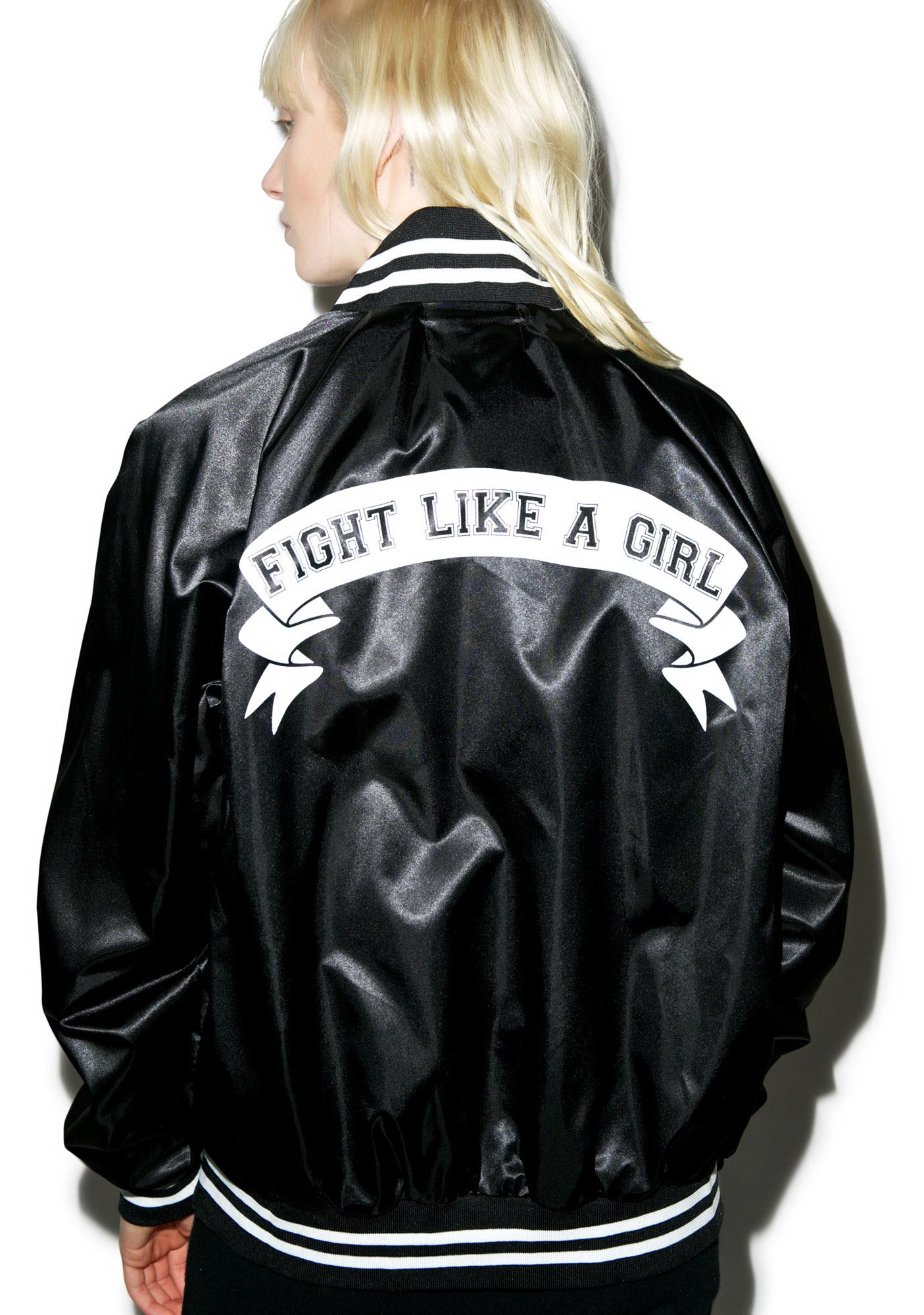 Stay Cute Fight Like A Girl Baseball Jacket
