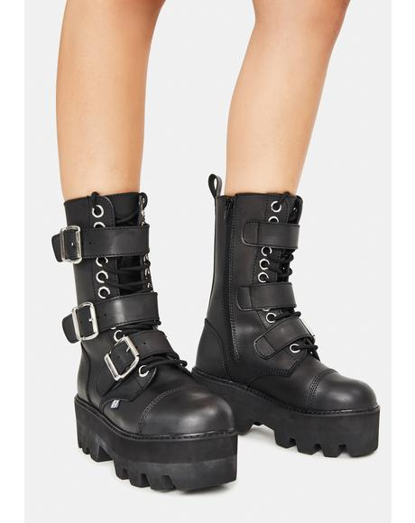 Black 12-Eye 3 Strap Dino Boots