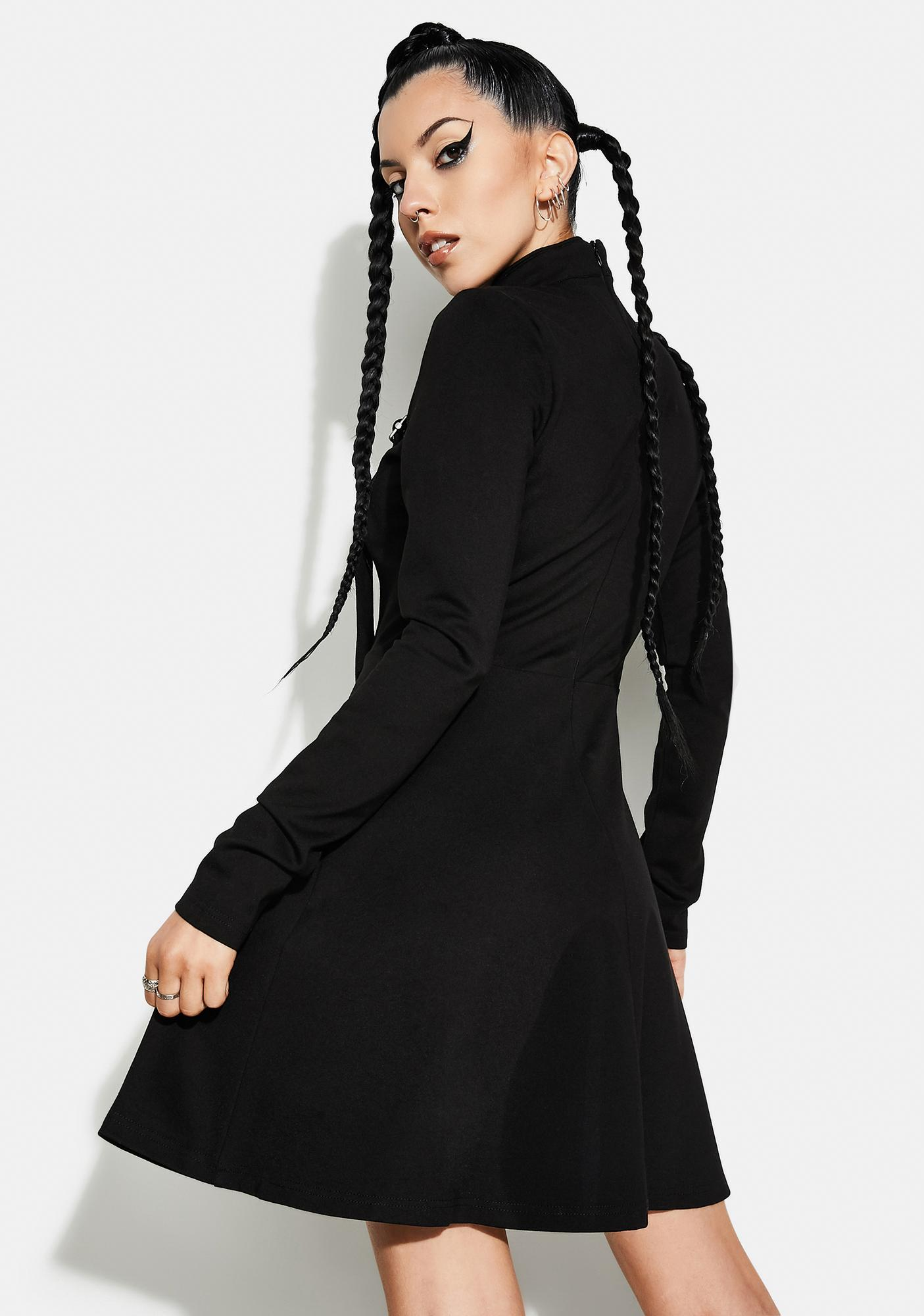 Punk Rave Gothic Stand Collar Strappy Dress