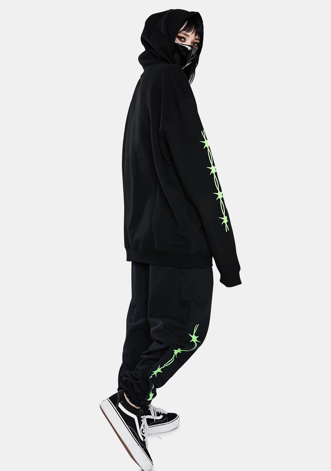 Misery Worldwide Black N Green Triple Rip Sweatpants