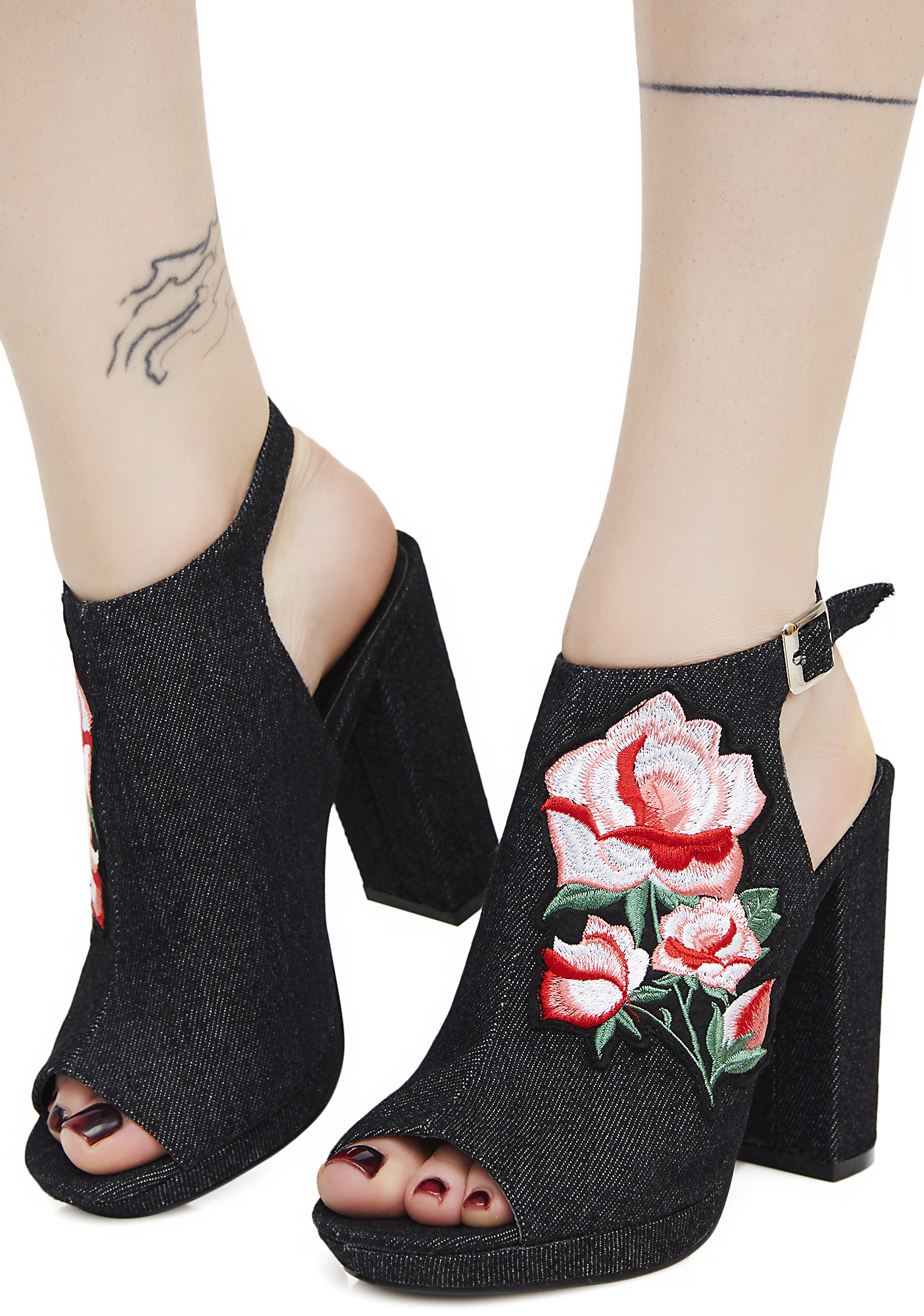 Denim Rose Embroidered Platform Heels Black