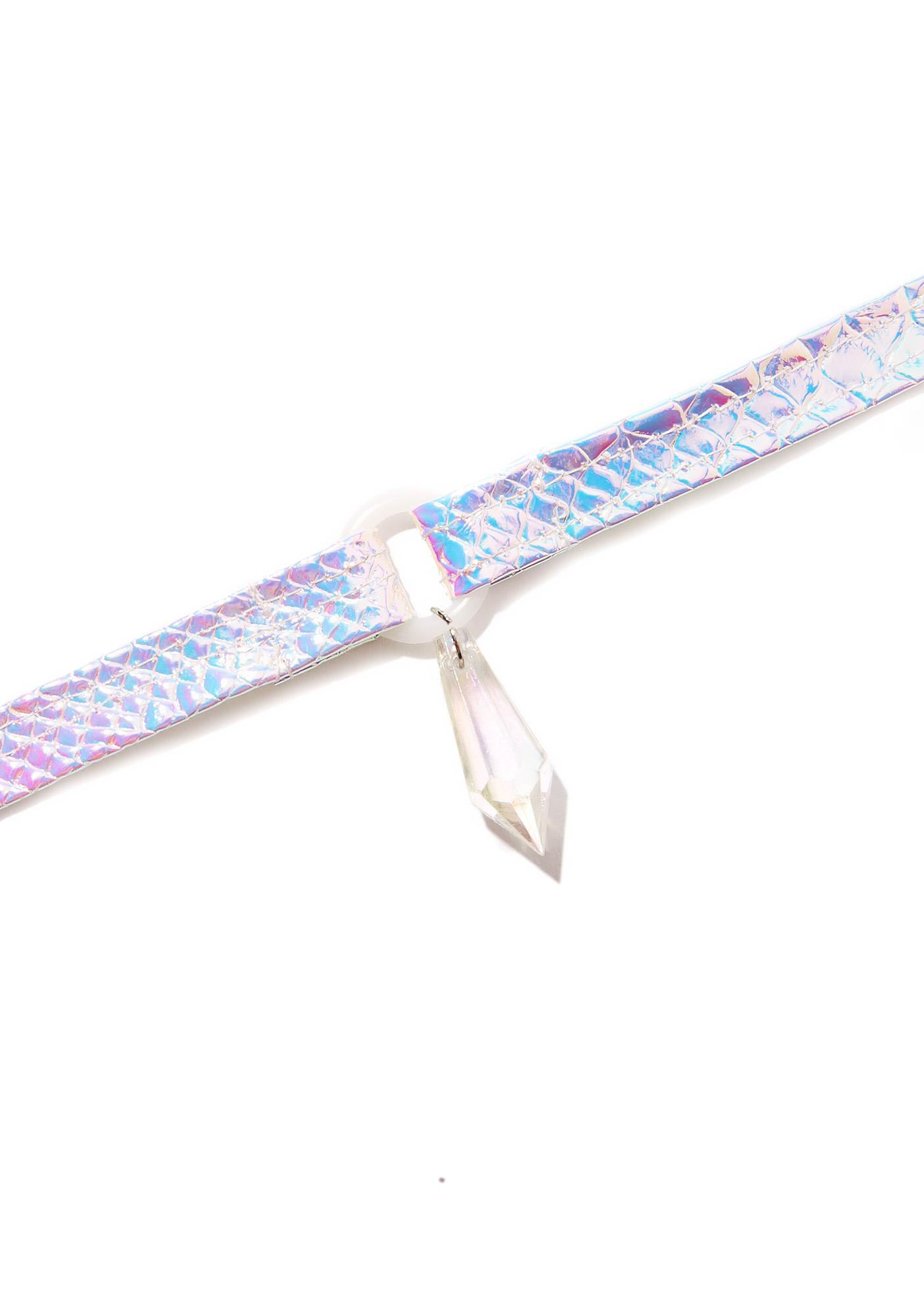 Cosmic Unicornz Holographic Diamond Drop Choker