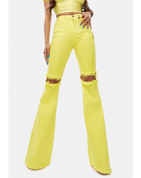 Bright Playful Call Distressed Denim Flares