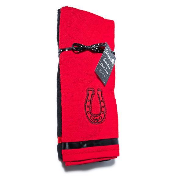 Sourpuss Clothing Lucky Horseshoe Towel Set