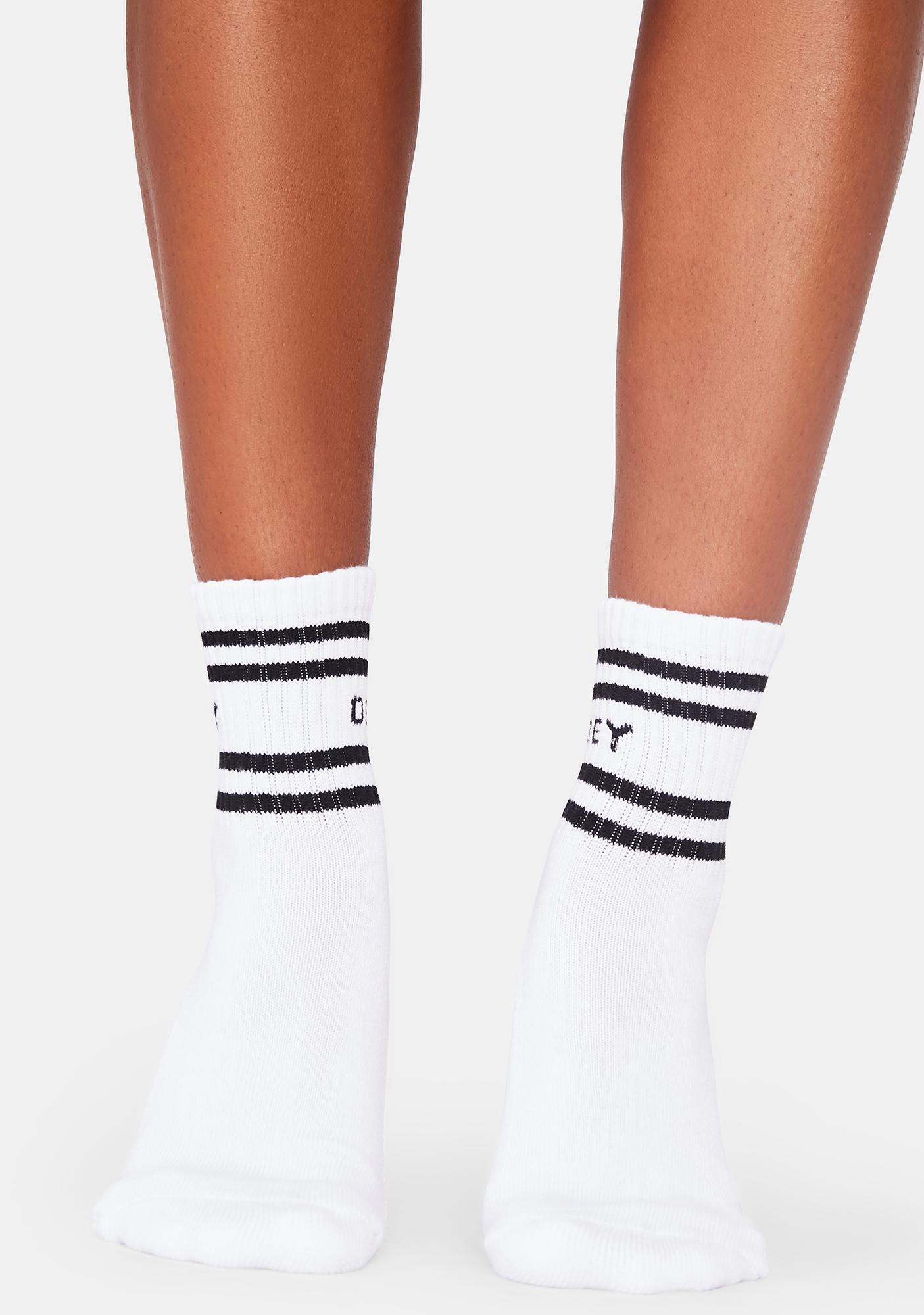 Obey Coop White And Black Ankle Socks