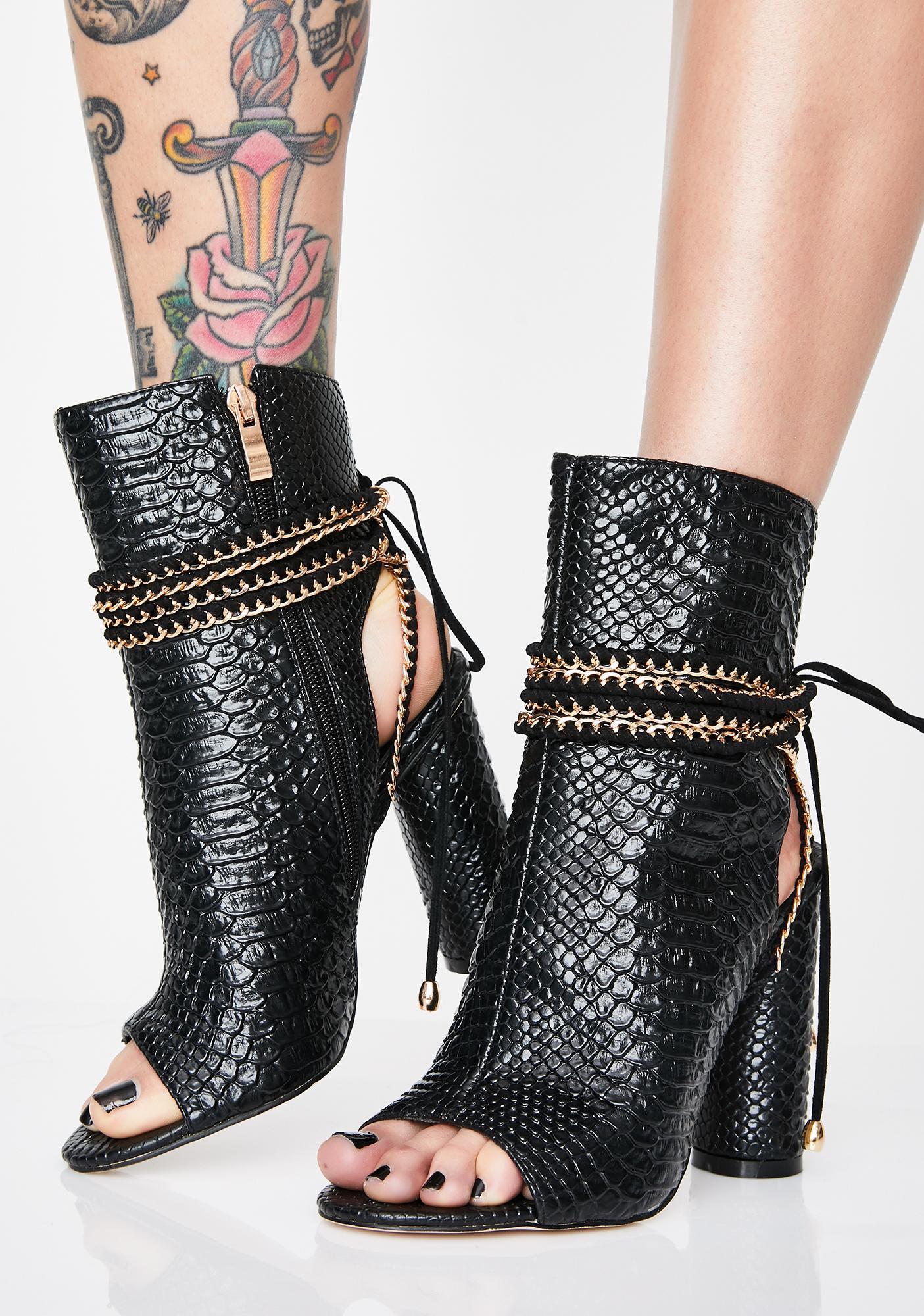 AZALEA WANG Honestly Get Real Snakeskin Boots