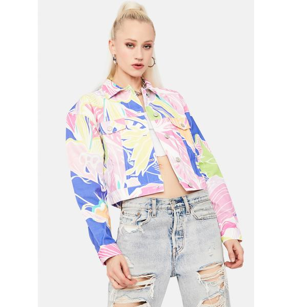 Jaded London Vintage Floral Print Cropped Denim Jacket