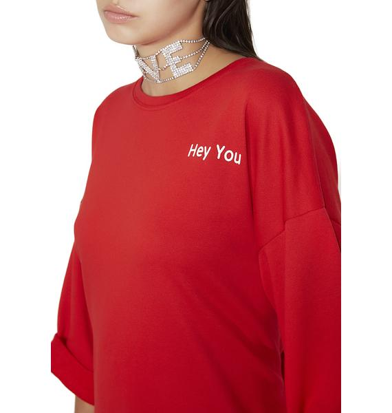 Call Yew Out Tie Sweatshirt