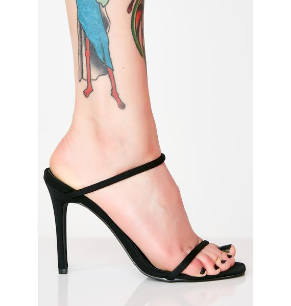 Midnight Slide In Strappy Heels