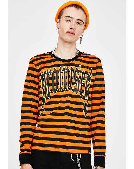 Orange Stripe Ruthless Long Sleeve Tee