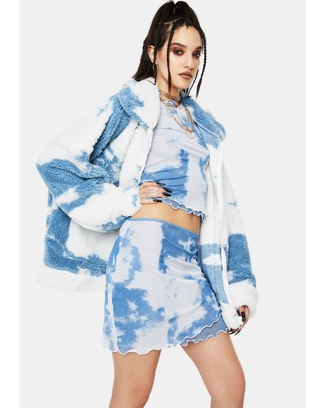 Cloud Print Layered Mesh Mini Skirt