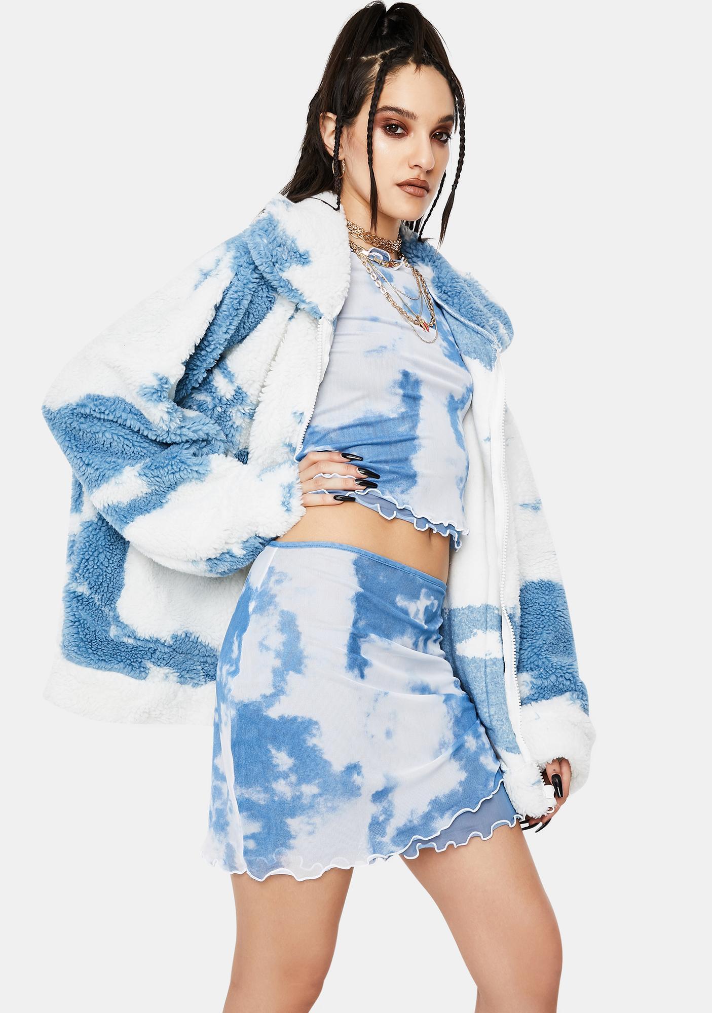 Jaded London Cloud Print Layered Mesh Mini Skirt