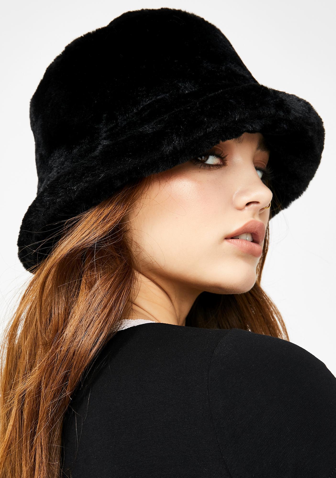 90s Faux Fur Bucket Hat Dolls Kill