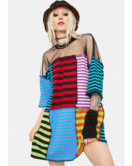 Nerve Patchwork Stripe Tee Dress