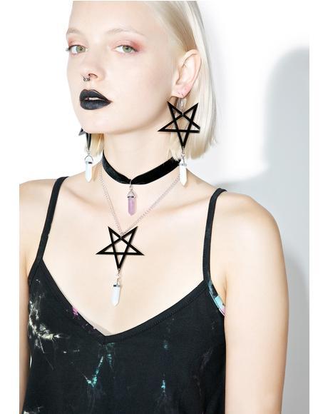 Pentagram Crystal Earrings