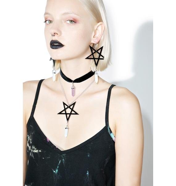 Pentagram Crystal Earrings