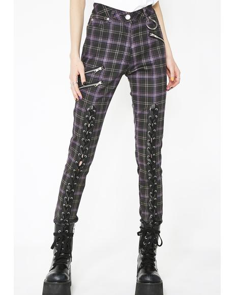 Tartan Mazzy Lace-Up Jeans