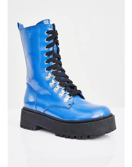 Sunday Blues Combat Boots