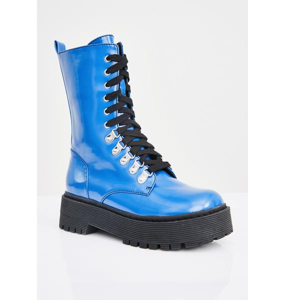 Current Mood Sunday Blues Combat Boots