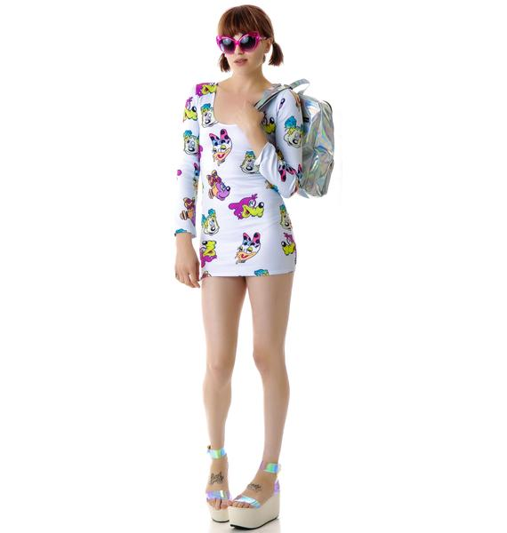 Coveted Society Worped On Acid Scuba Dress