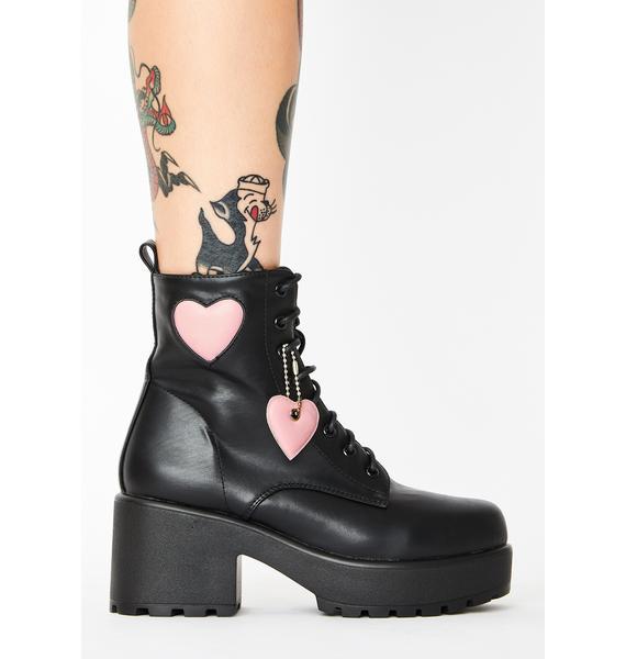 Koi Footwear Pink Heart Gin Platform Boots