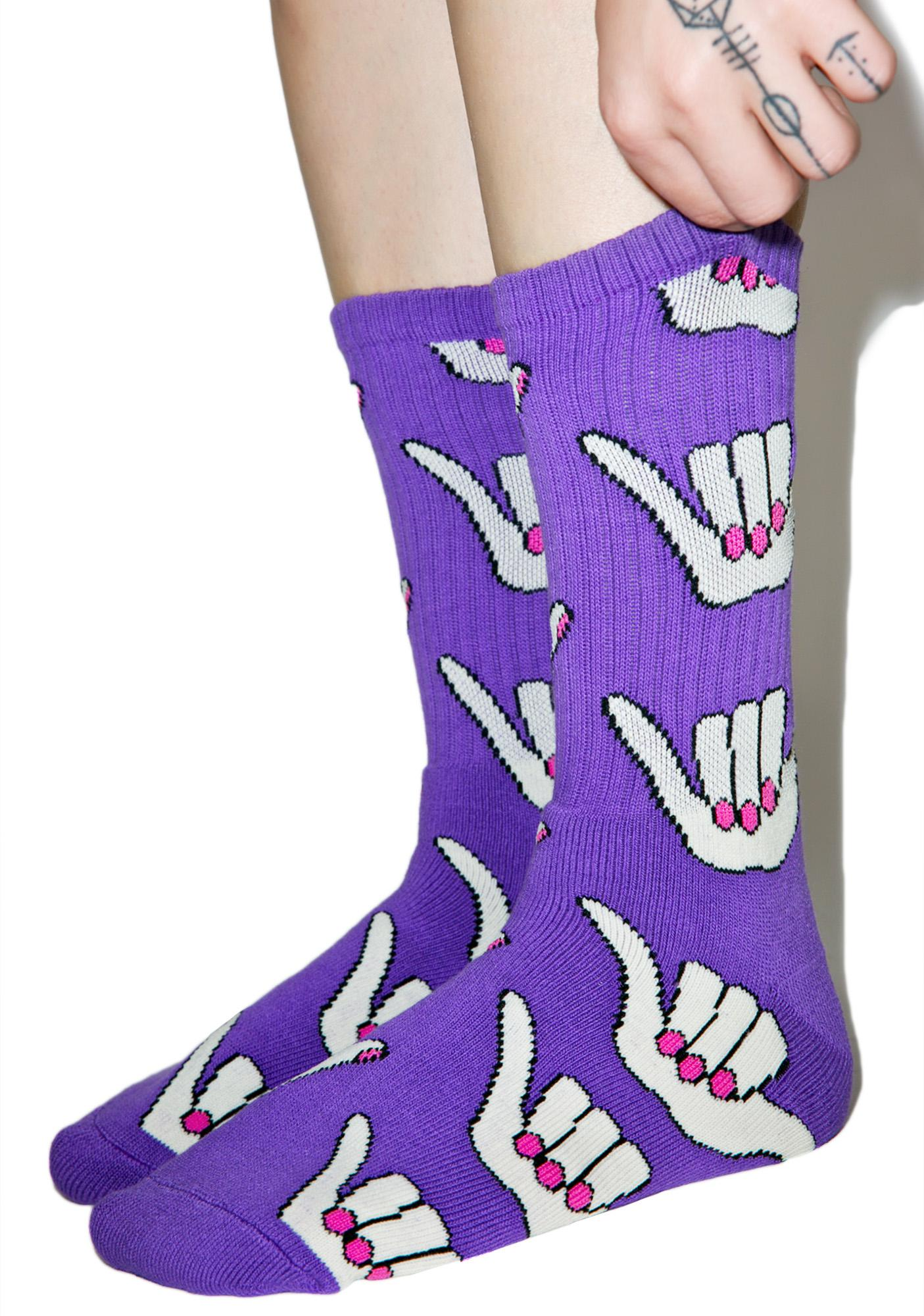 HUF Anne Freeman Purple Shaka Crew Socks
